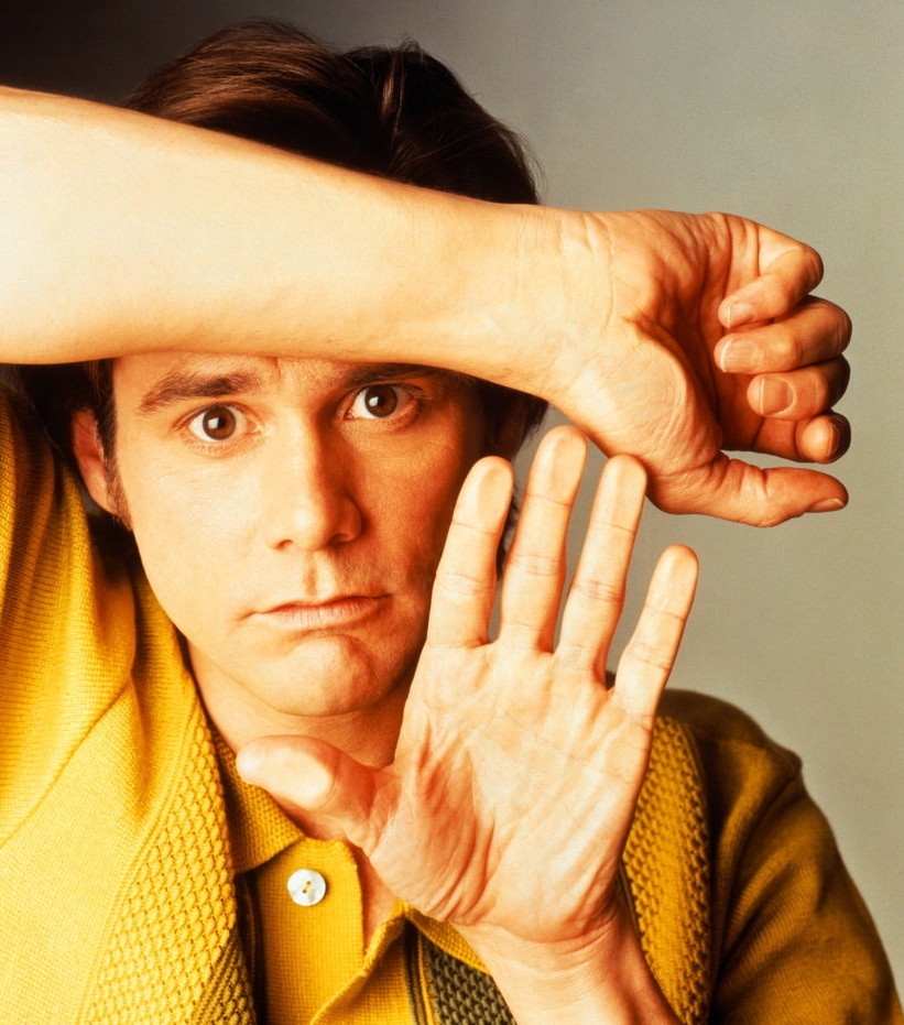 Jim Carrey Leaning on Glass