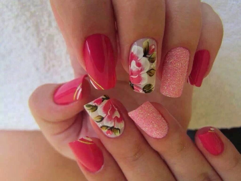 Маникюр на ногти цветы фото